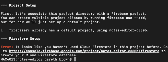 Firestore initialise output