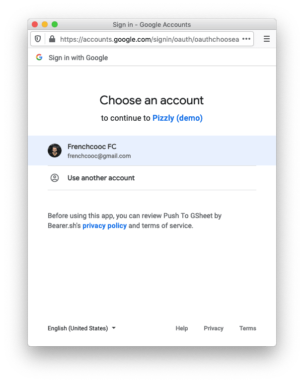 Google OAuth consent screen