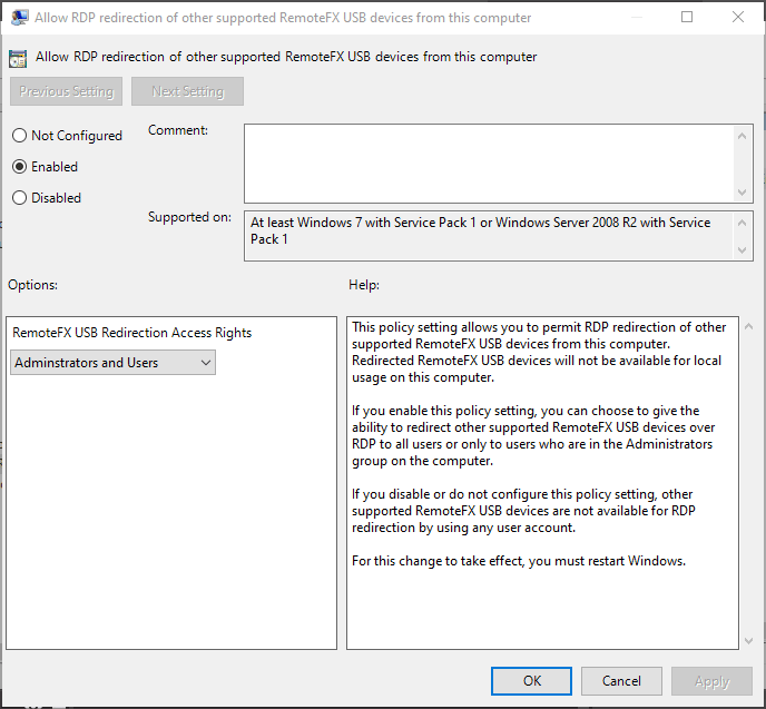 Group policy settings for enabling RemoteFX on the local client-side.