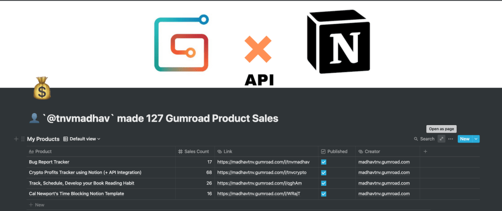 Cover image for Gumroad Sales Tracker (feat. Notion API)