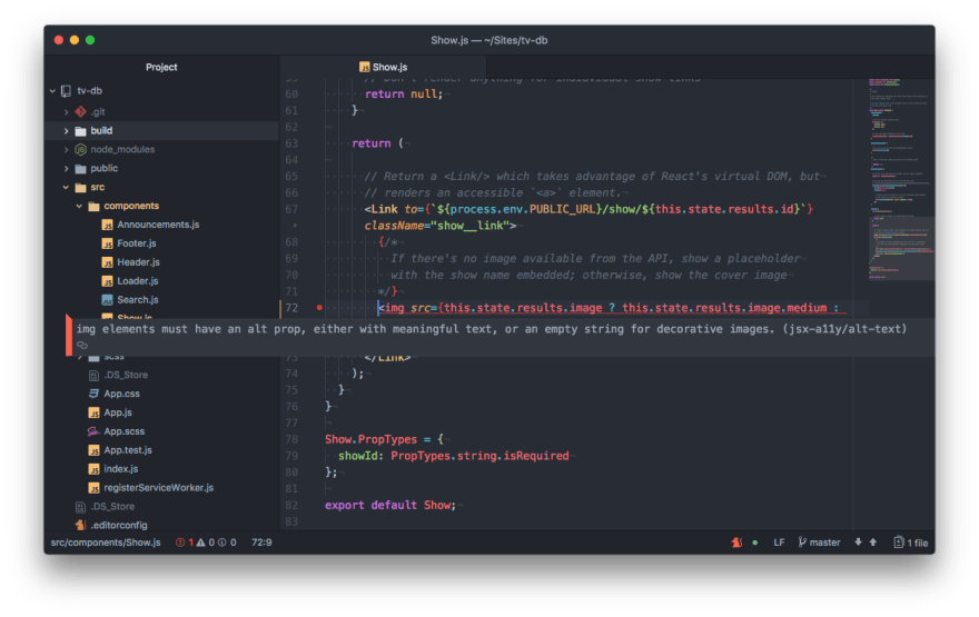 "Screen capture of Atom text editor. A warning message appears overtop of some<br> code with the following message, ""img elements must have an alt prop, either<br> with meaningful text, or an empty string for decorative images.<br> (jsx-a11y/alt-text)"""