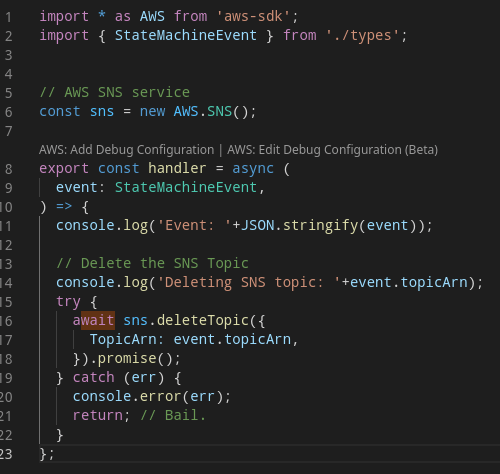 "TypeScript / AWS SDK for Javascript / SNS ""deleteTopic"""