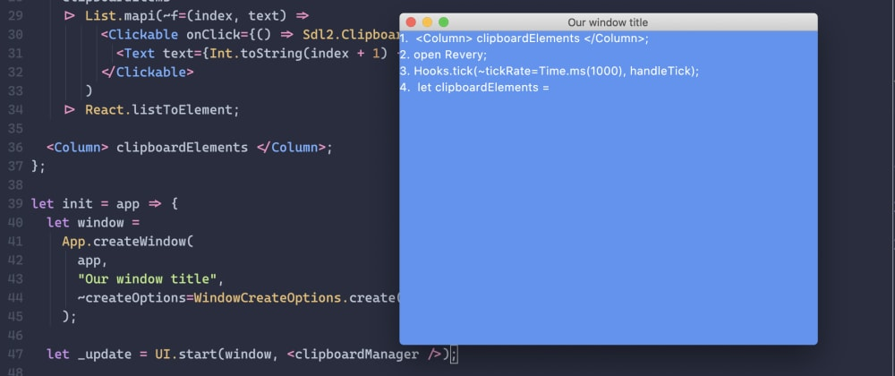 Cover image for Let's build a native cross-platform clipboard manager with Revery