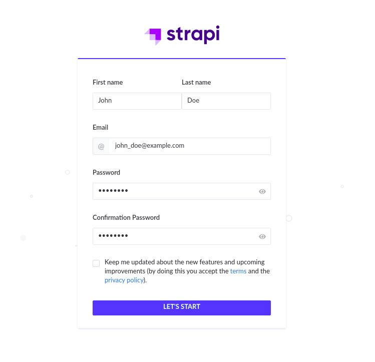 The Strapi Admin login page