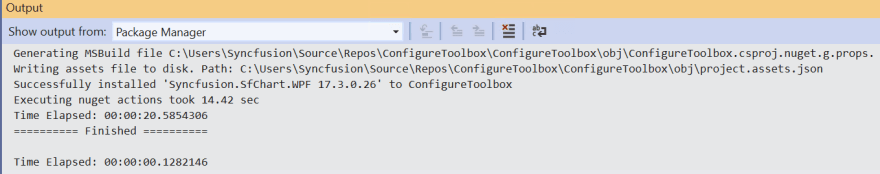 Installation completion message in Output Window