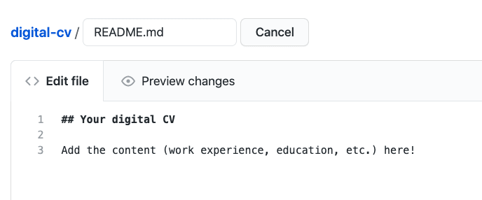New file is now named README.md. The boilerplate content has been replaced with personal CV information.