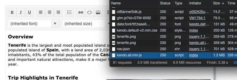 """""""Kendo UI Script Size"""""""