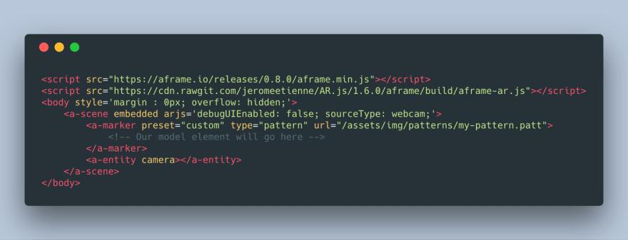 Screenshot of adding in a custom marker in AR.js