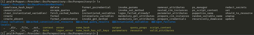 Demonstrating the `ls` command in pry