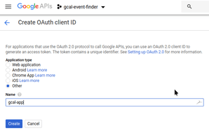 new project in Google API console, credentials two