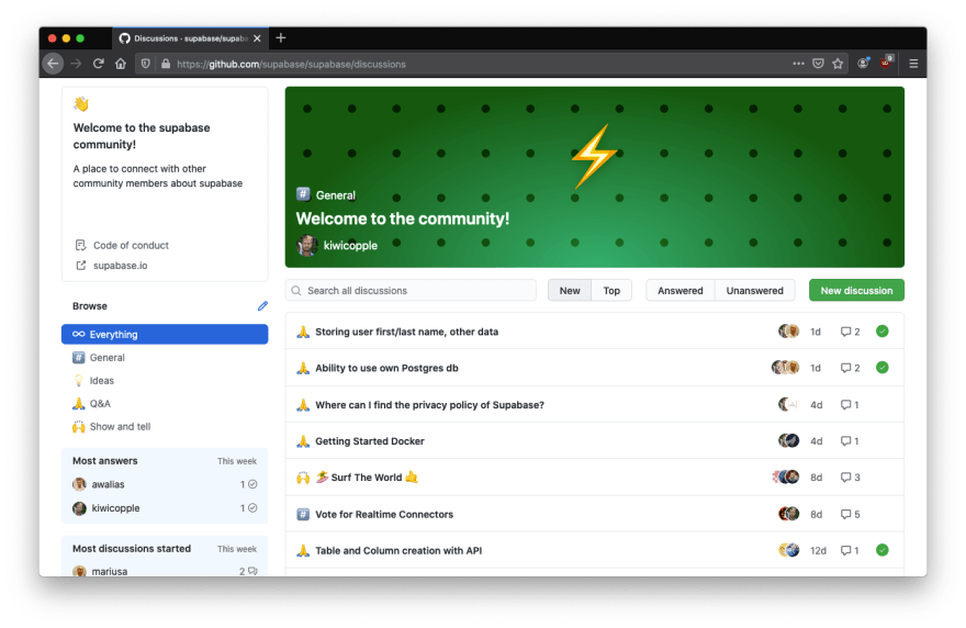 This is a screenshot of our GitHub Discussions, a new feature by GitHub