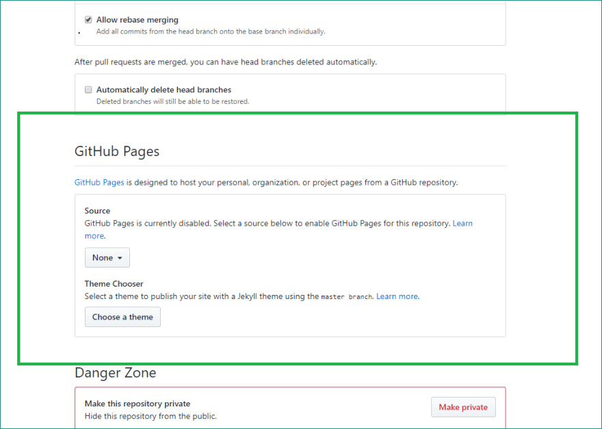 GitHub Pages options