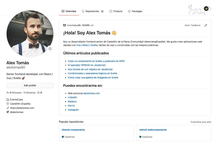 Perfil personalizado en Github de Alex Tomás