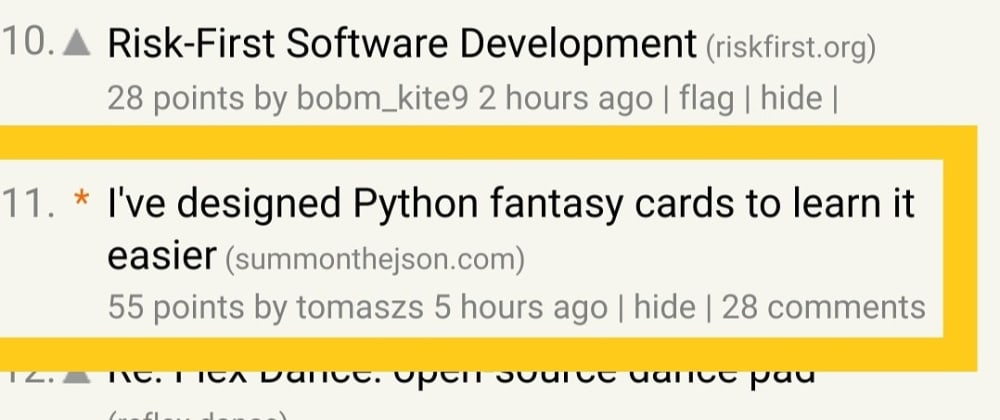 Cover image for Python deck made it to the front page of Hacker News!