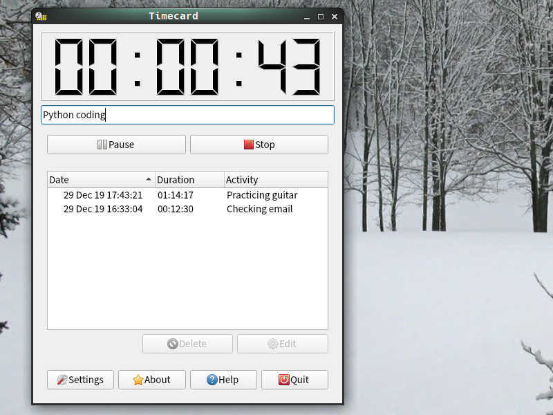 Screenshot: The time log