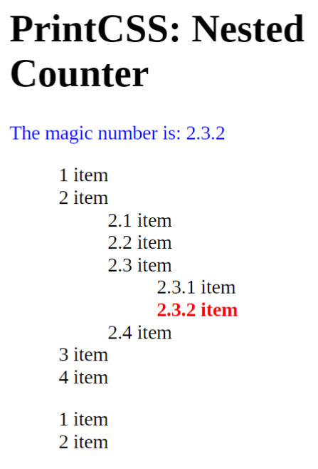 The correct result with target-counters