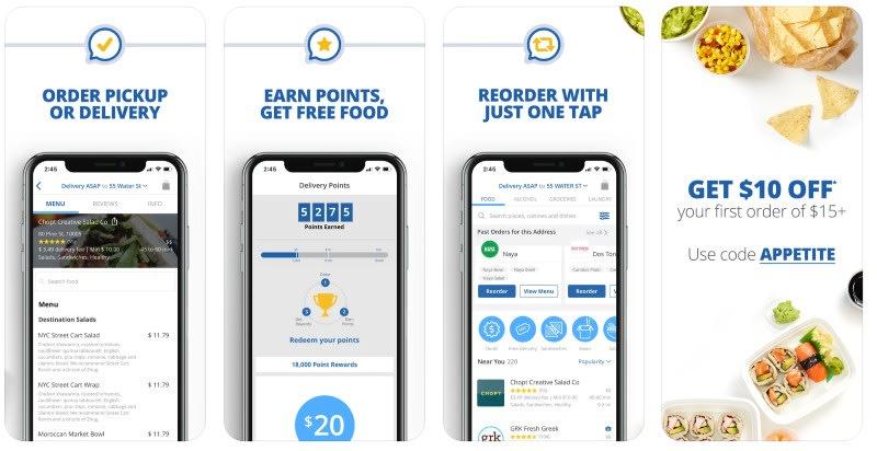 React Native apps: Delivery.com app screenshots