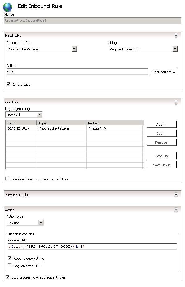 Current Rule Configuration