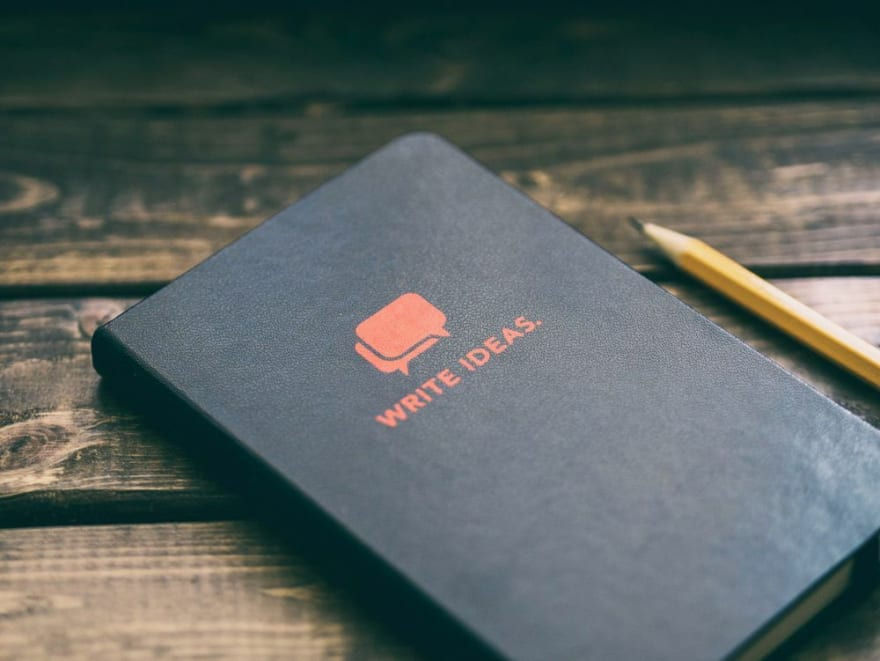 A photo of a notebook with the label 'Write Ideas' on its front cover