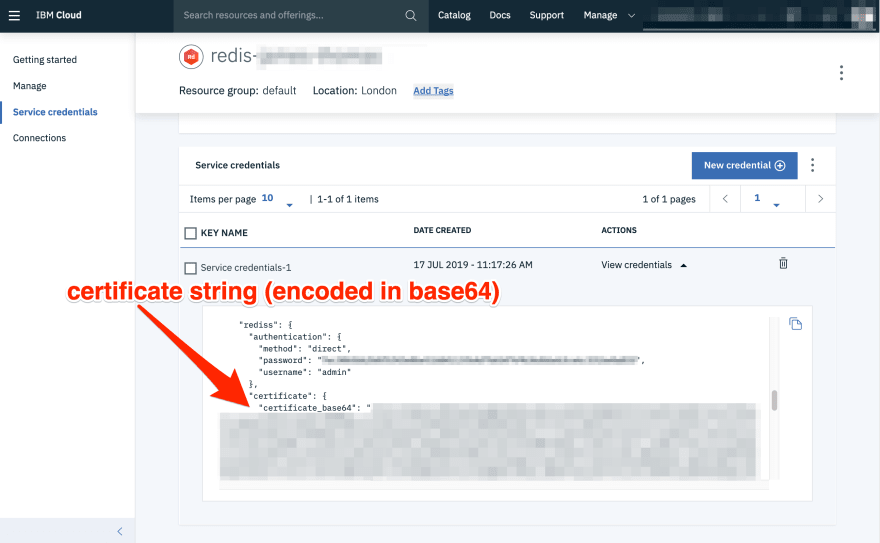 Redis Service Credentials