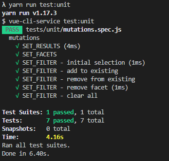 unit testing results