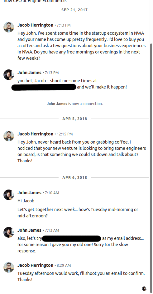 Messages to John, the CEO of Engine