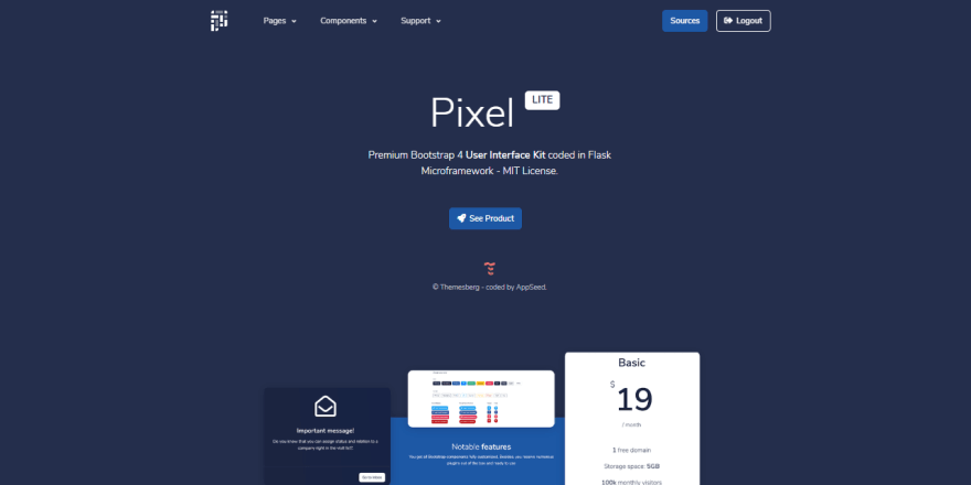 Flask Template - Pixel UI, the main product page.