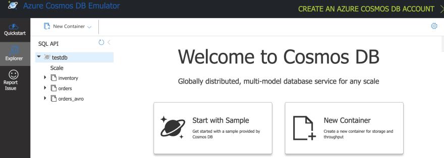 Azure Comos DB local emulator