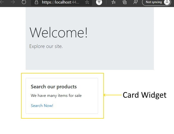 Card widget displayed in a browser. A black border surrounds an evenly spaced title, content, and call-to-action link