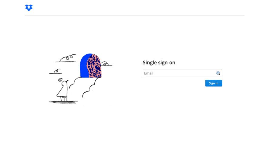 Dropbox SSO Login Page