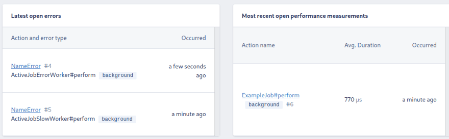 Last events in the background namespace