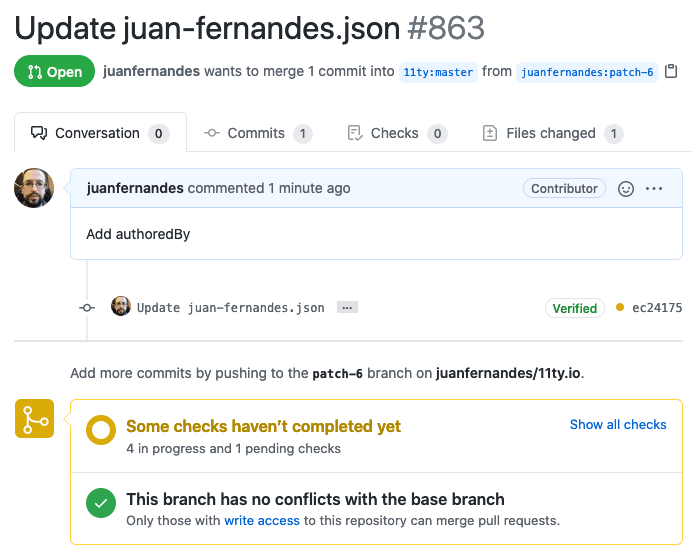 Shows a sucessfull pull request screen in GitHub