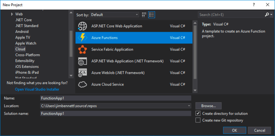Creating a new Azure Functions project from the Visual C#->Cloud section of the File->New dialog