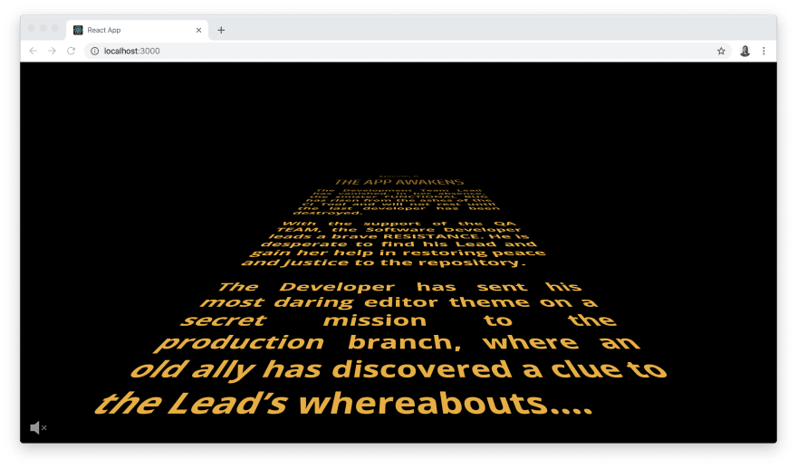 Screenshot of finished Star Wars crawl animated with React Hooks and Greensock