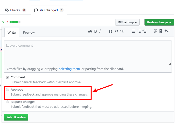 Picture of pull request approval option