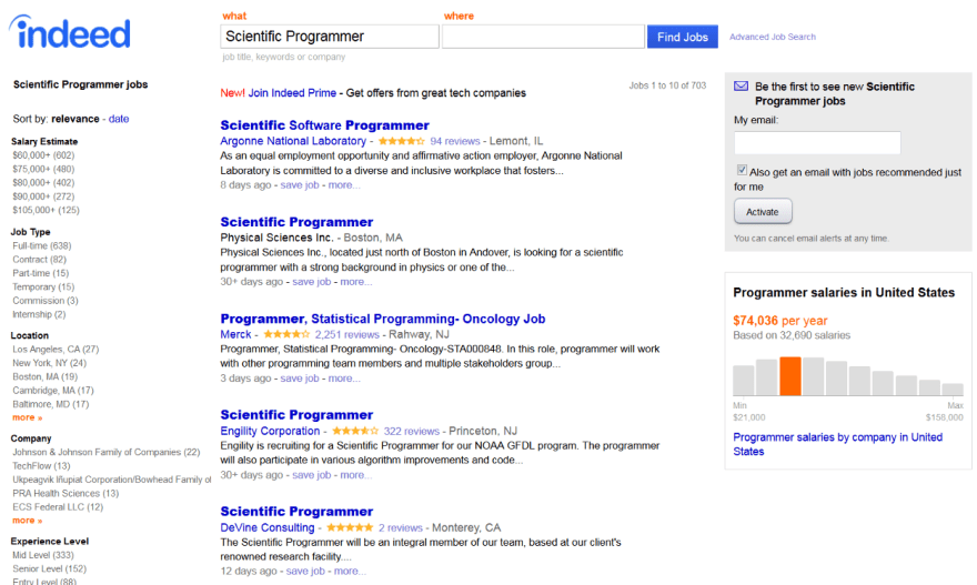 Indeed Scientitic Programmer jobs