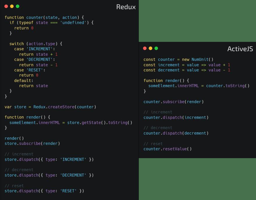 Redux vs ActiveJS