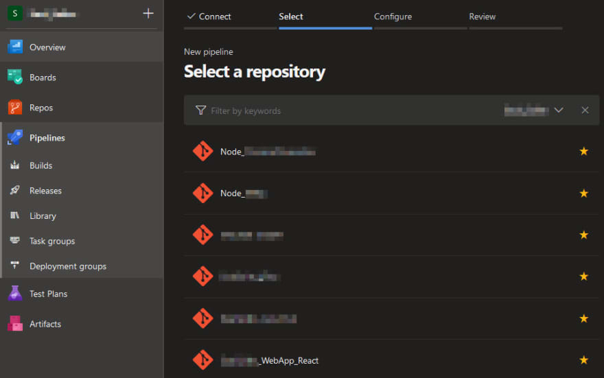 Screenshot of the menu to choose your single repository