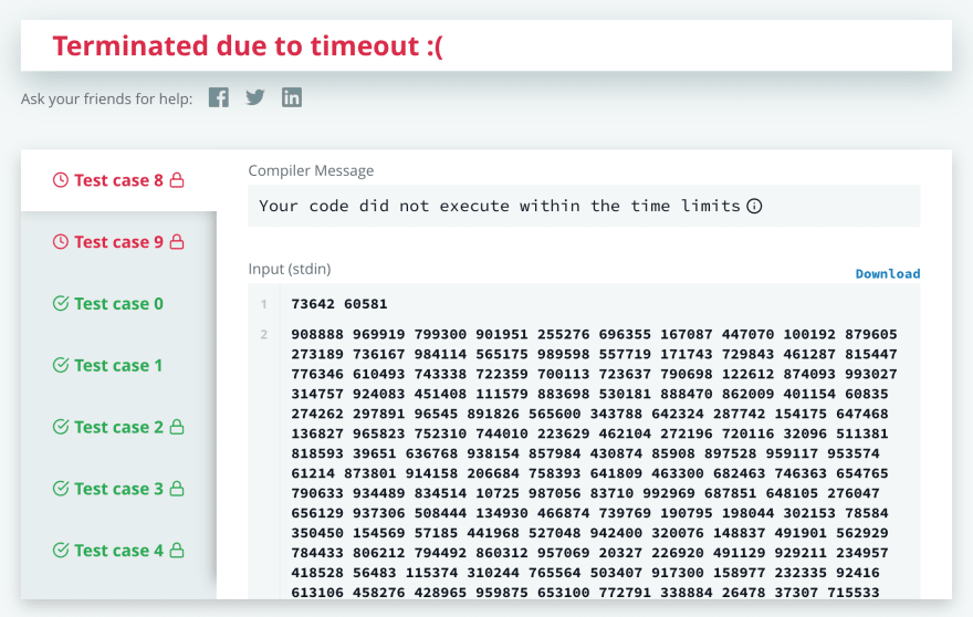 hackerrank timeout screenshot