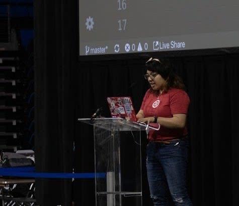 Lizzie coding onstage