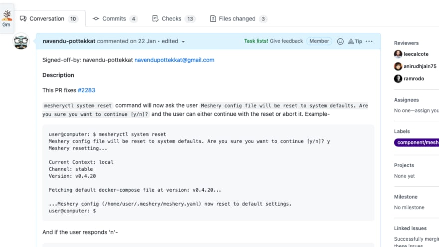 A screenshot of a pull request description from GitHub showing how to document your PRs.