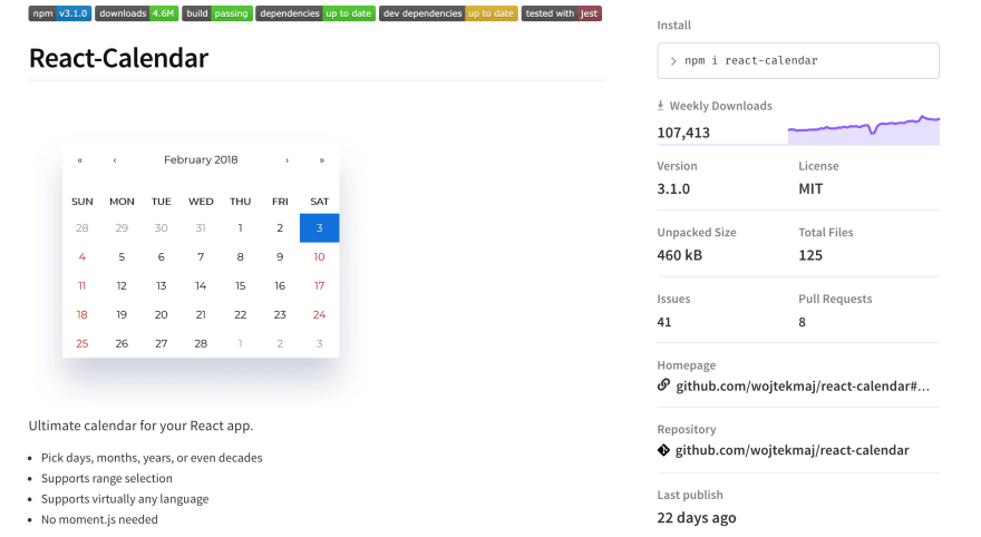 React Calendar screenshot