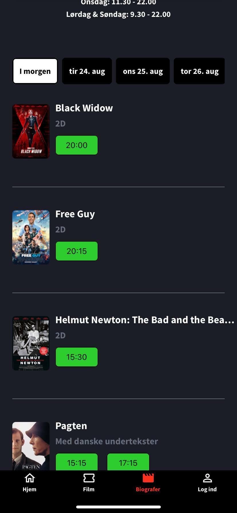 cinema show times screen kino app