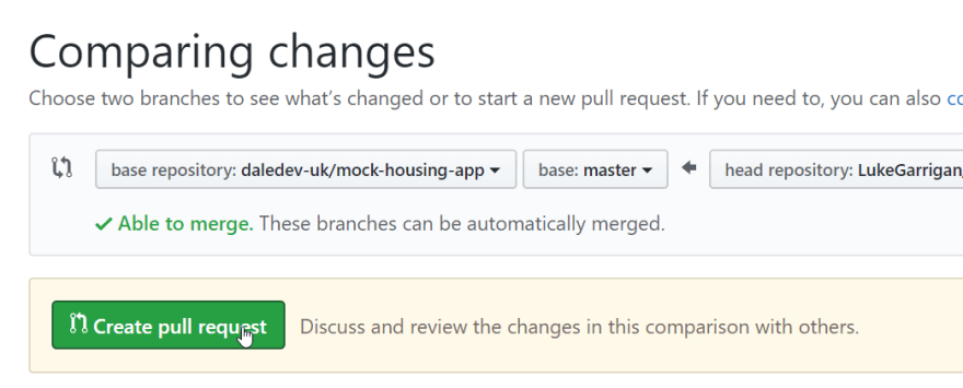 Make the pull request button