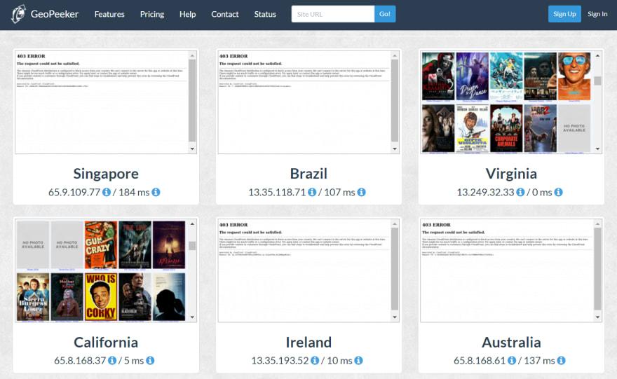 GeoPeeker Results from Blacklist