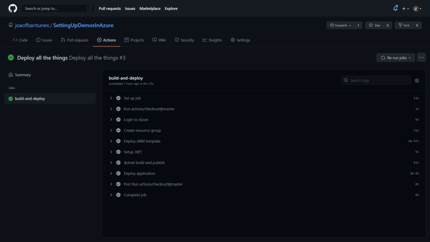GitHub Actions workflow result