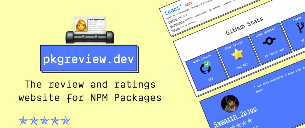 pkgreview.dev - The Ratings and Review Website for NPM Packages 🎉