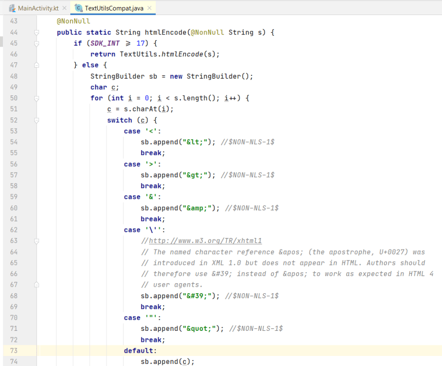 Source code of androidx.core.text.TextUtilsCompat.htmlEncode()
