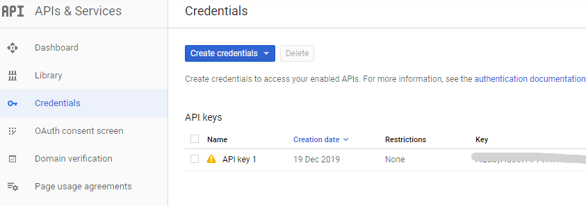 Credentials page for getting API keys