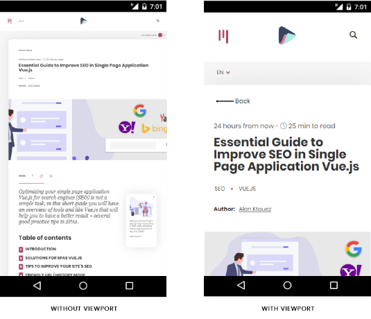 Displays 2 smartphone screens, the one on the left side with unadjusted content and on the right side the most readable and screen-adjusted content